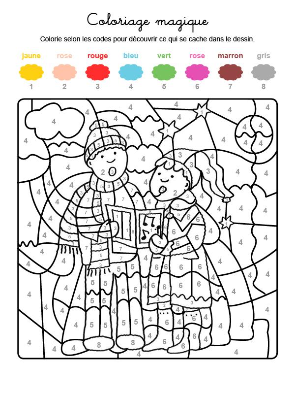 Dibujo mágico para colorear en francés de niños cantando