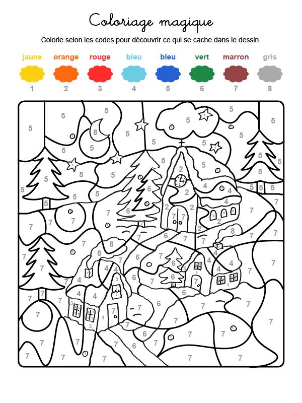 Dibujo mágico para colorear en francés de casas bajo la nieve