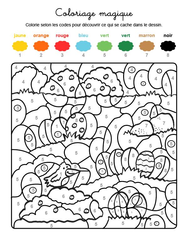 Dibujo mágico para colorear en francés de la caza de los huevos