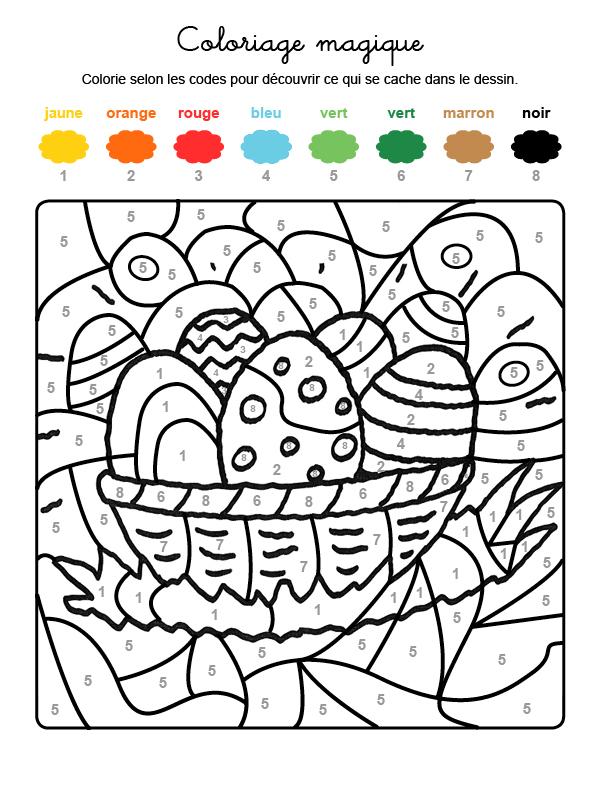 Dibujo mágico para colorear en francés de cesta de huevos de Pascua