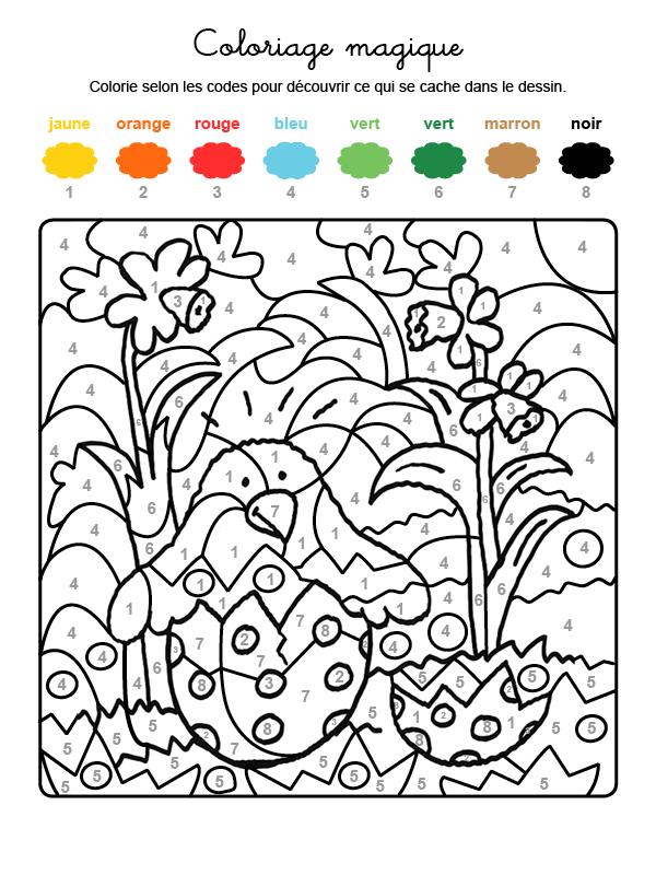 Dibujo mágico para colorear en francés de un polluelo saliendo del huevo