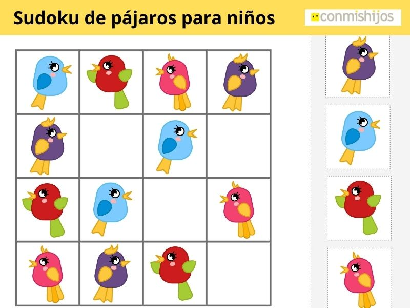 Sudoku de pajaritos para niños