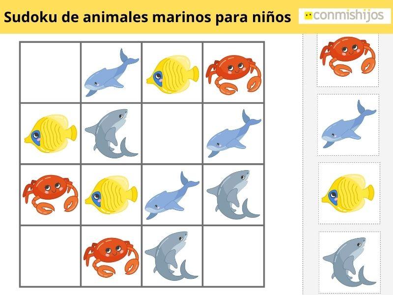 Sudoku de animales marinos para niños