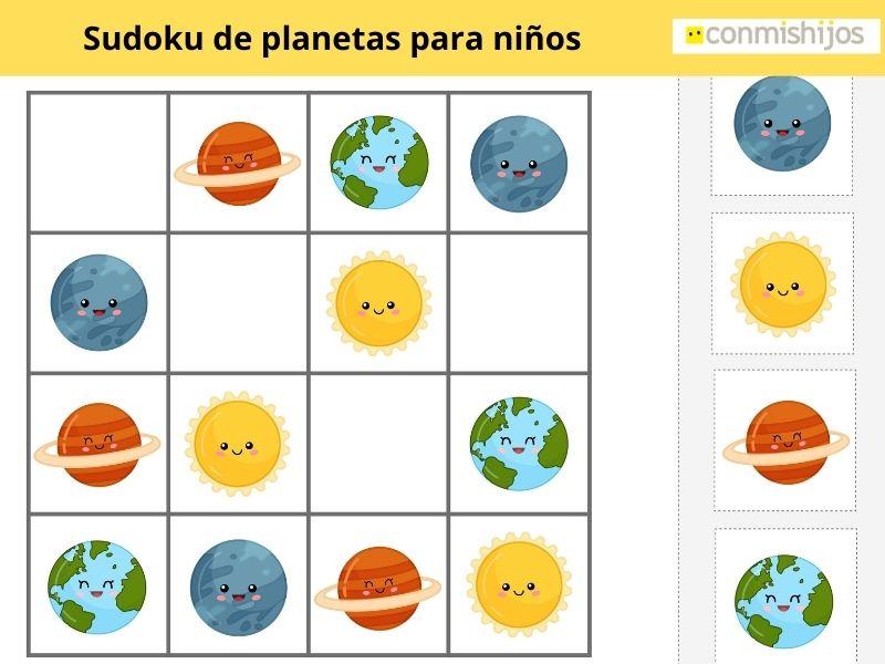 Sudoku de planetas para niños