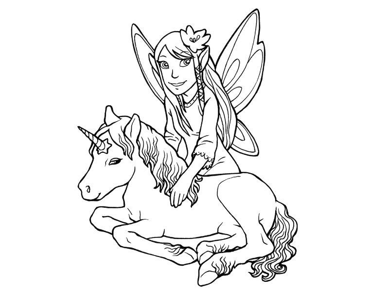unicornio con un hada para pintar