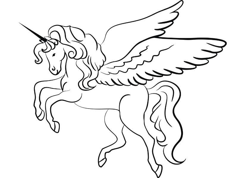Dibujo de un unicornio volando para que los niños lo coloreen
