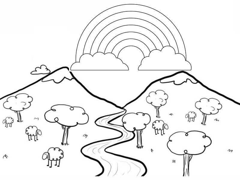 Dibujo de un paisaje con arcoiris para imprimir y colorear