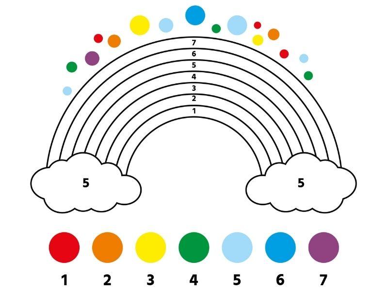 Dibujo de un arcoiris para colorear por números