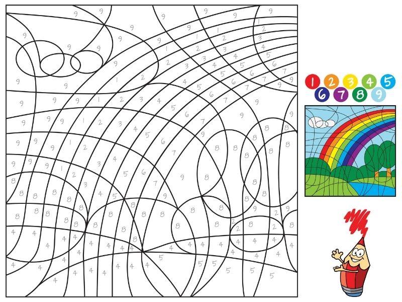 Dibujo mágico de un arcoiris para colorear