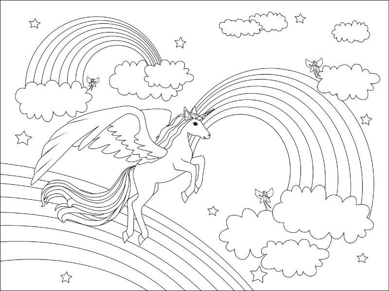 Dibujo de un unicornio, arcoiris y hadas para colorear