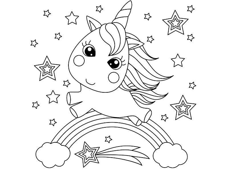 Dibujo de un bebé unicornio sobre un arcoiris para pintar