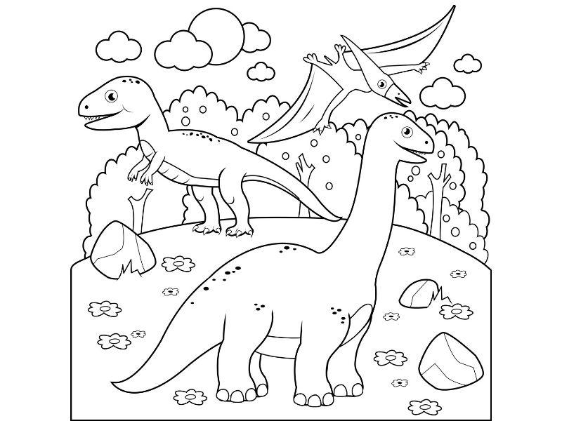 Imagen de un diplodocus, T-Rex y pteranodon para colorear