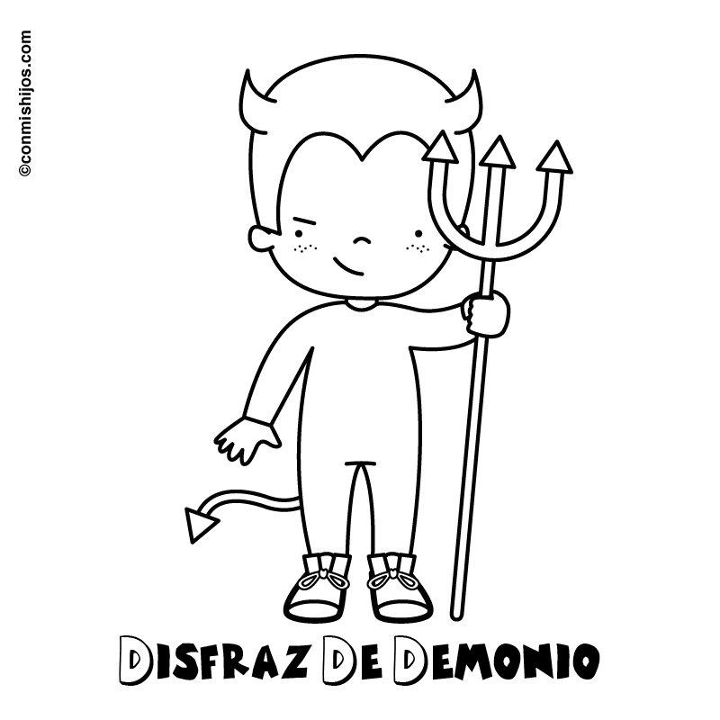 Dibujo para pintar de niño disfrazado de diablillo