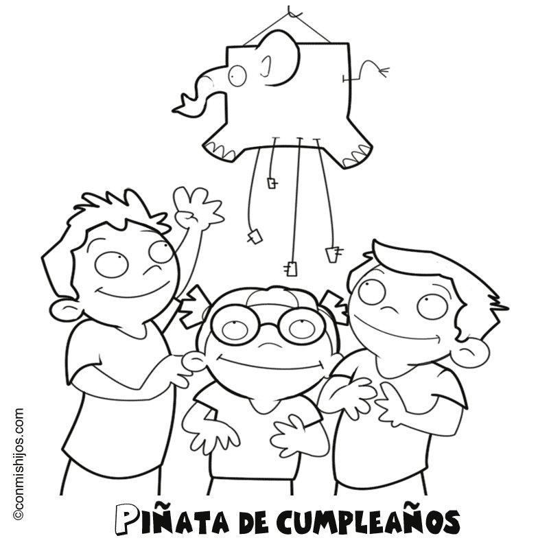 Imprimir: Piñata de cumpleaños: Dibujos para colorear