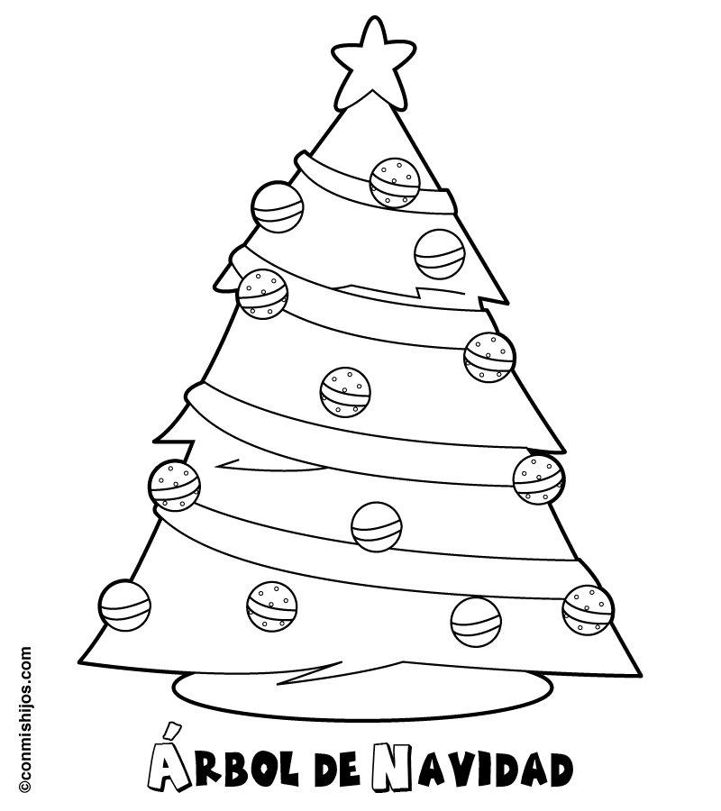 Rbol de navidad para imprimir y colorear dibujos for Dibujo arbol navidad
