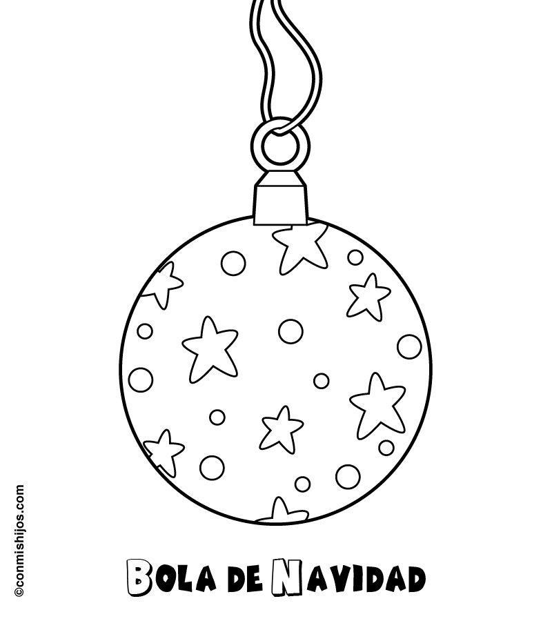 Dibujos para colorear de bolas de Navidad por los niños