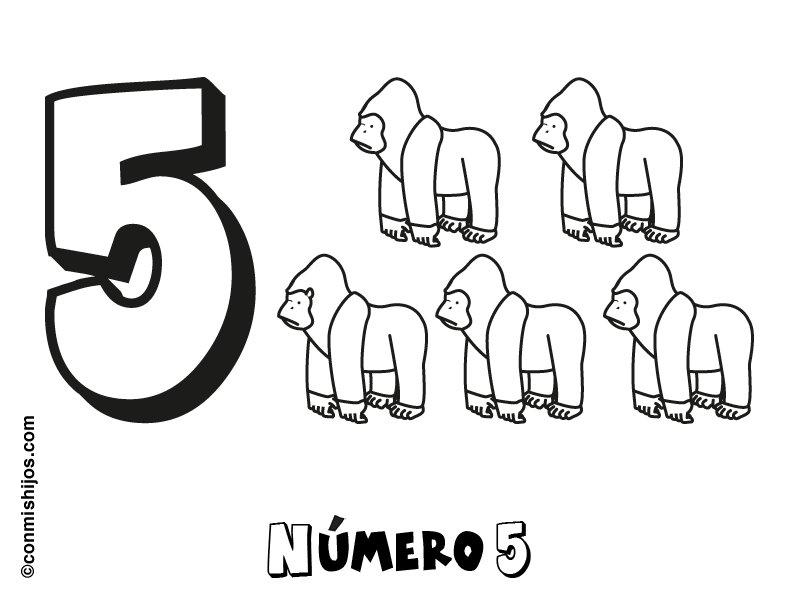 Número 5: Dibujos para colorear