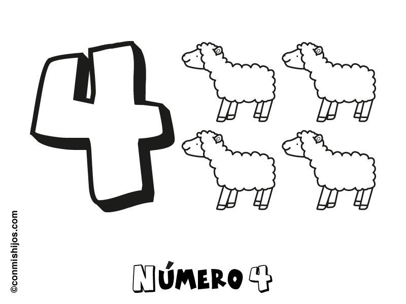 Dibujos Del Numero 7 Para Colorear: Dibujo Para Colorear Con Los Niños Del Número 4