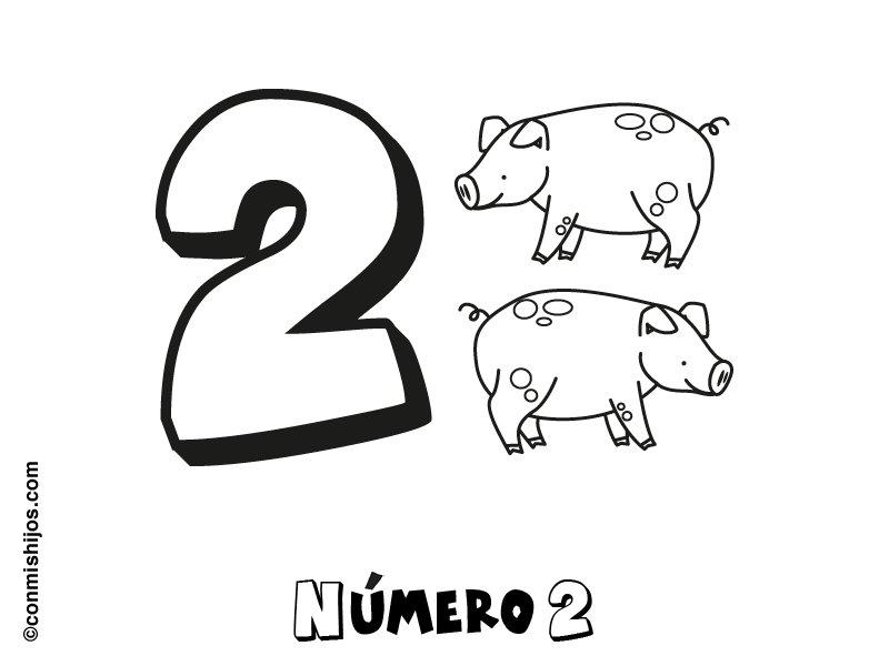 Imprimir: Número 2: Dibujos para colorear