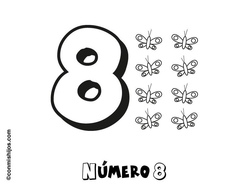 Dibujo para colorear con los niños del número 8