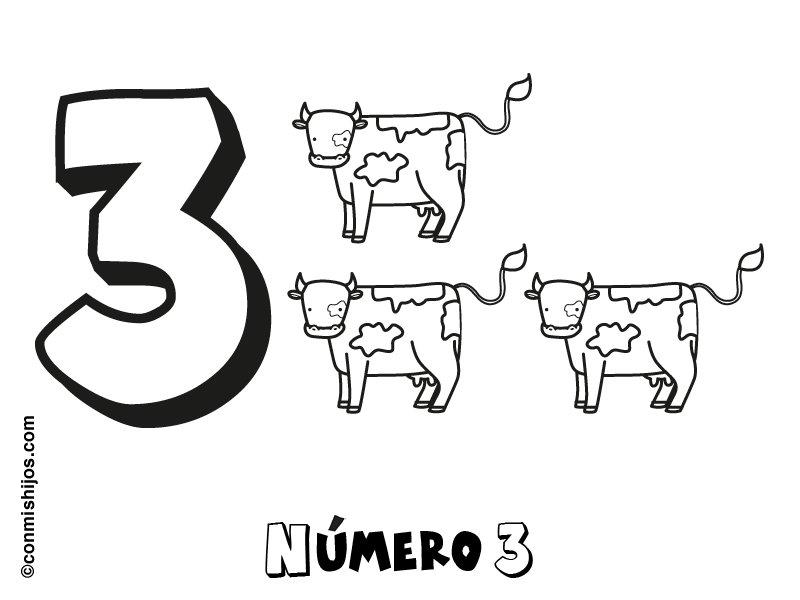 Dibujo del número tres para colorear con los niños