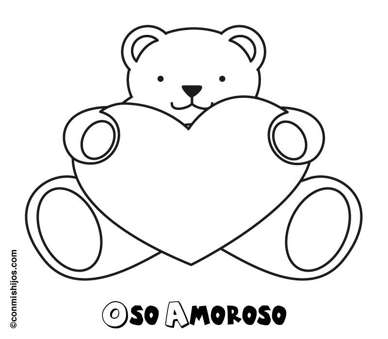 de un oso amoroso para colorear con nios