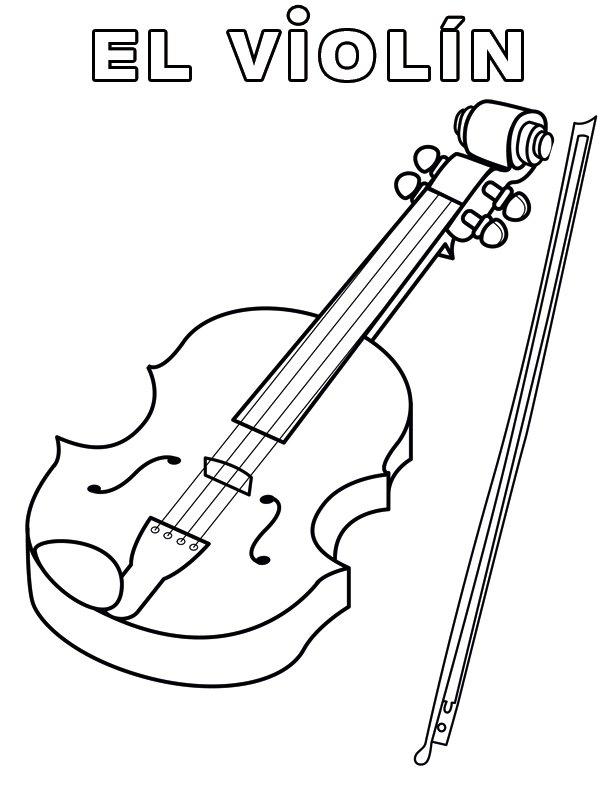 violín y arco: dibujos para colorear