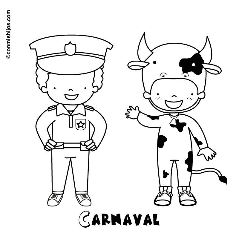 Dibujo de Carnaval de vaca y policía para pintar con niños