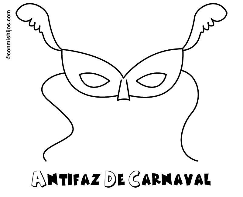 Dibujo para colorear con los niños de un antifaz de Carnaval