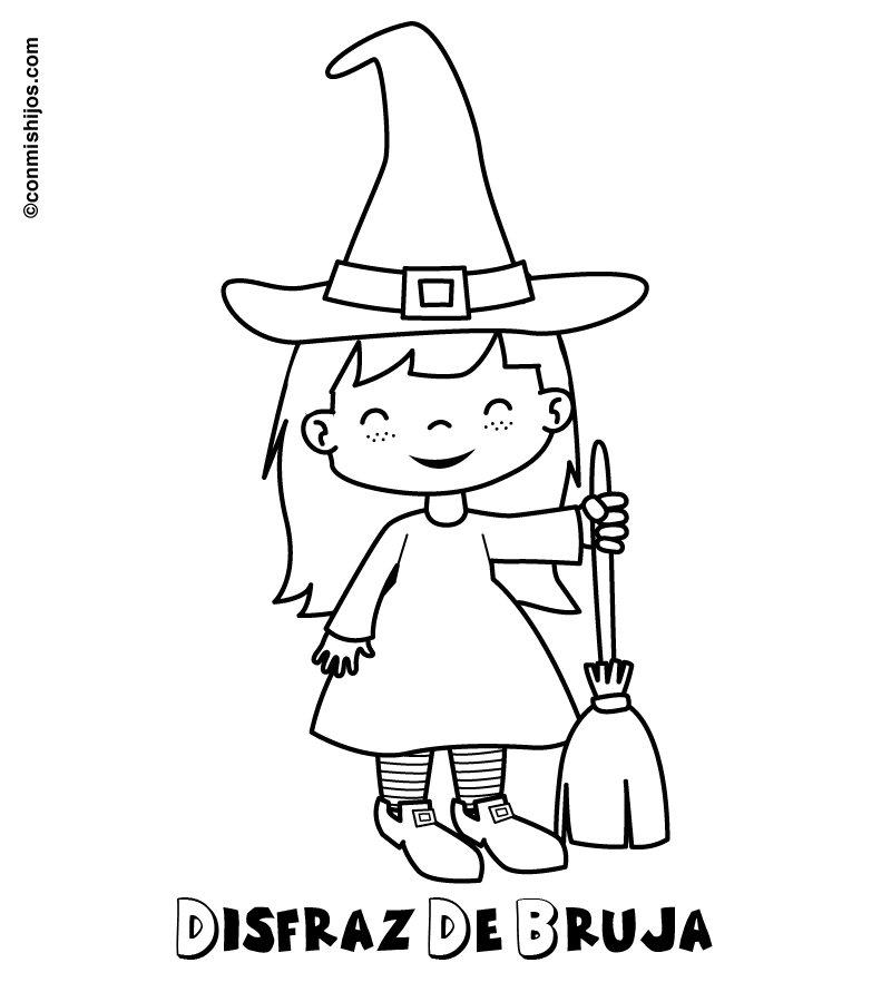 Dibujo de disfraz de bruja para colorear con niños