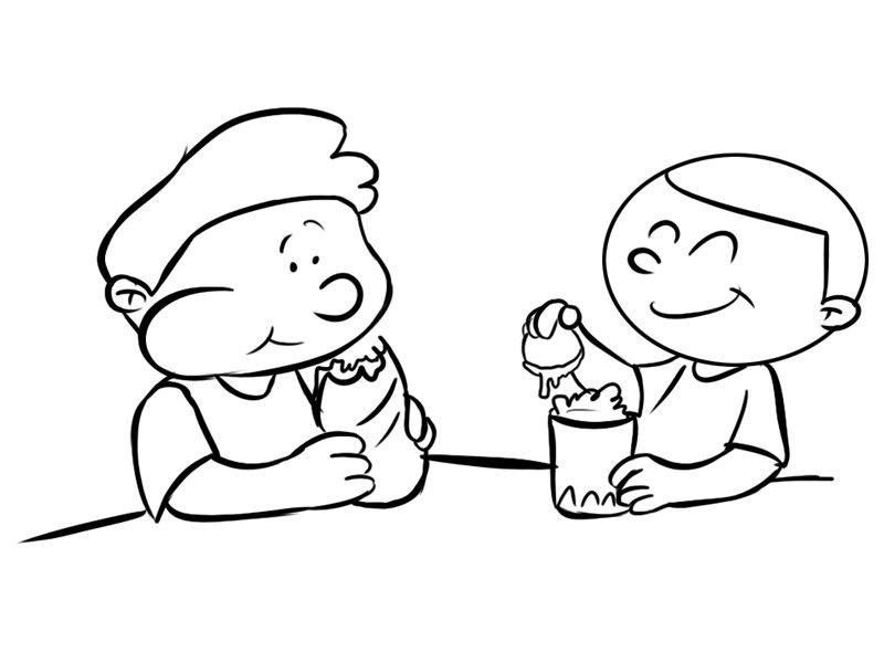 Niños Merendando Dibujos Para Colorear