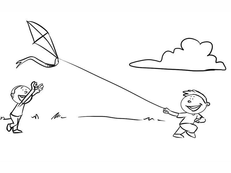 Dibujo para imprimir y colorear de niños volando una cometa