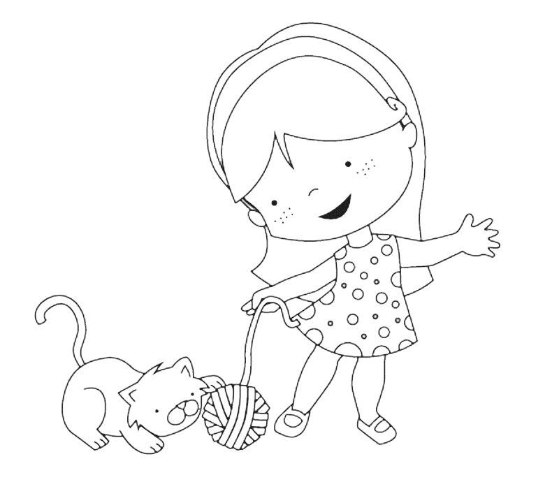 Dibujo para imprimir y colorear de una ni a con gato for Dibujo de una piedra para colorear