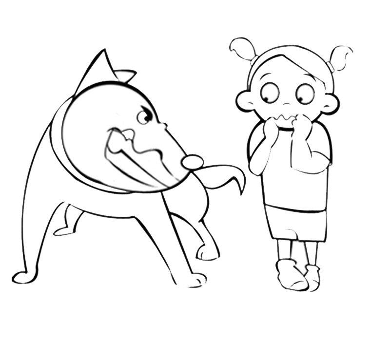 Niña Con Perro Dibujos Para Colorear