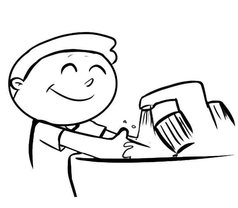 Dibujos para imprimir y colorear de un niño lavándose las manos