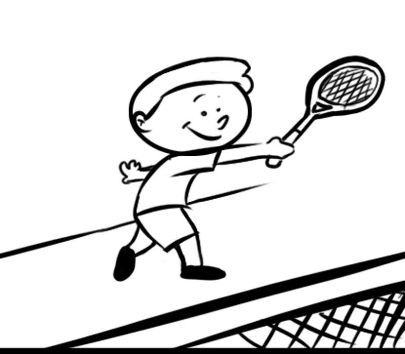 Nio jugando al tenis Dibujos para colorear