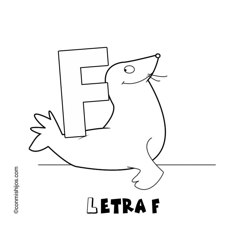 Letra F para colorear con dibujos  Imagui
