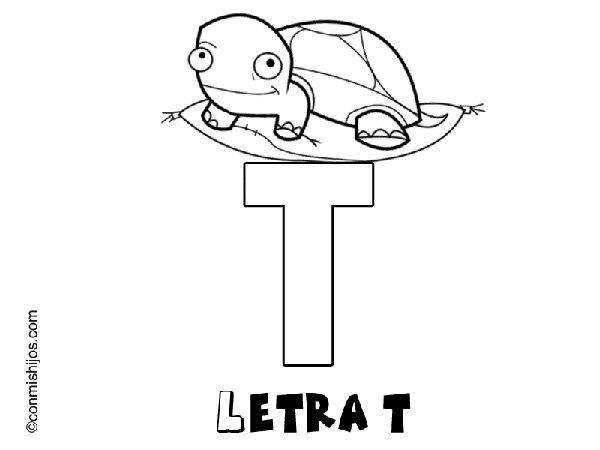 Dibujos de letras para colorear con los niños. Letra T
