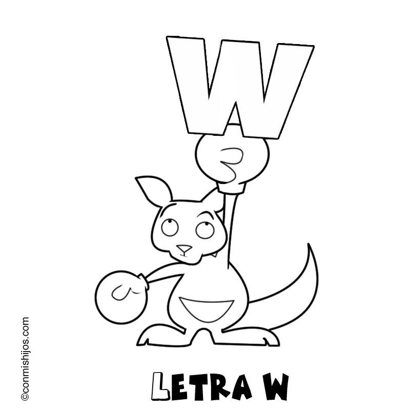 Letra W: Dibujos para colorear