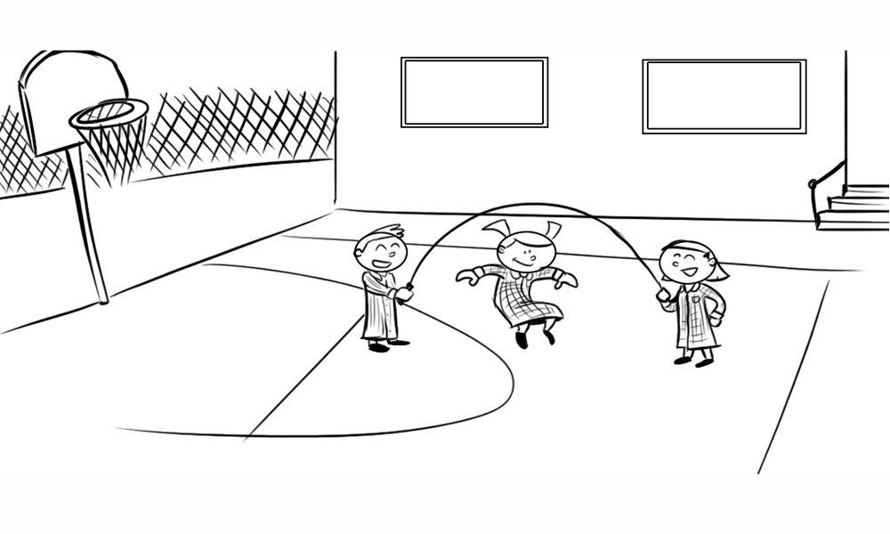 Dibujo para colorear de niños jugando en el patio del colegio