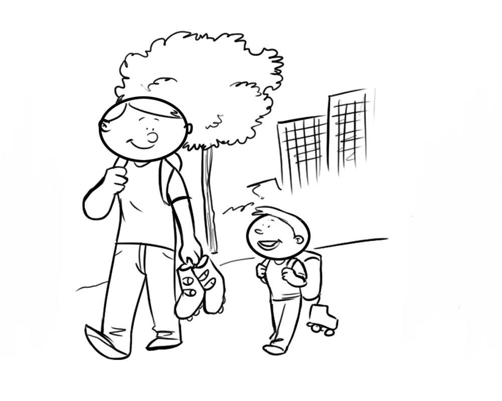 para colorear de padre e hijo caminando con patines