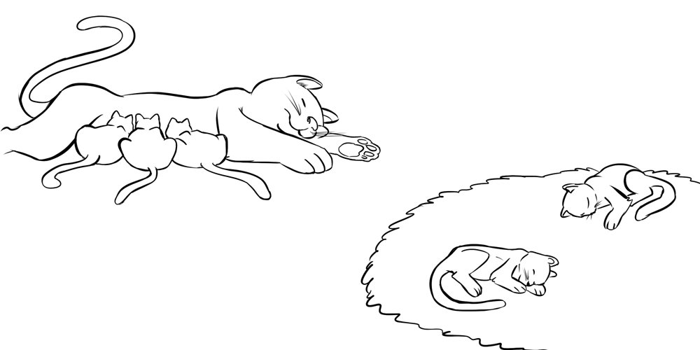Gatitos durmiendo con su mamá. Dibujo infantil para niños