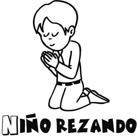 para colorear de niño rezando en su Primera Comunión