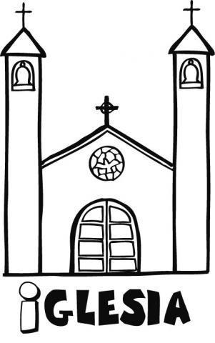 infantil de una iglesia para pintar
