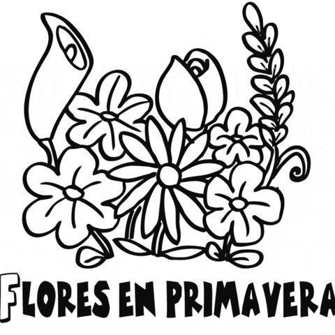 gratis de ramo de flores Dibujos de primavera para colorear