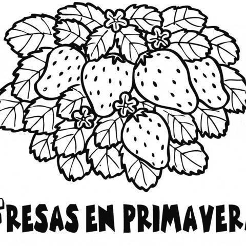 Fresas En Primavera Dibujos Para Colorear