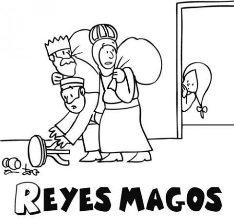 Dibujo de los Reyes Magos descubiertos por una niña