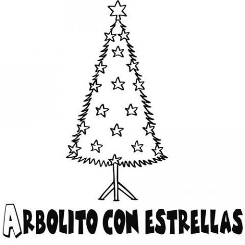 Árbol de Navidad decorado con estrellas. Dibujos para niños