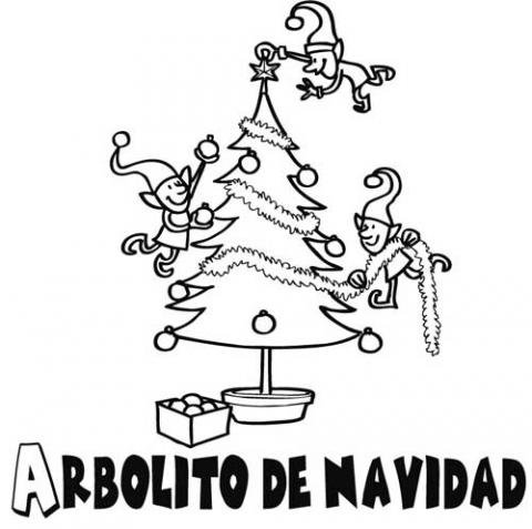 Dibujo de duendes decorando rbol de navidad for Dibujos de arboles de navidad