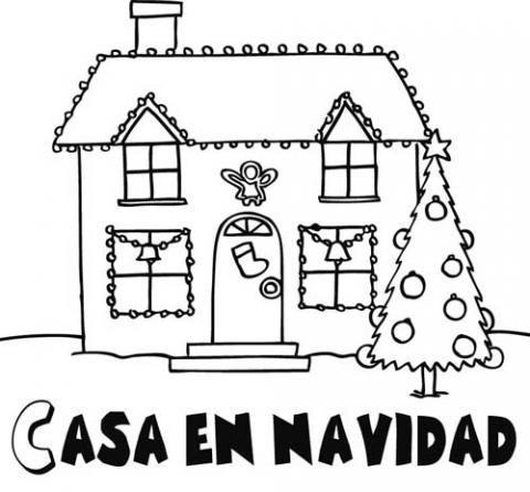 Dibujos de una casa adornada en navidad para colorear - Casas decoradas en navidad ...